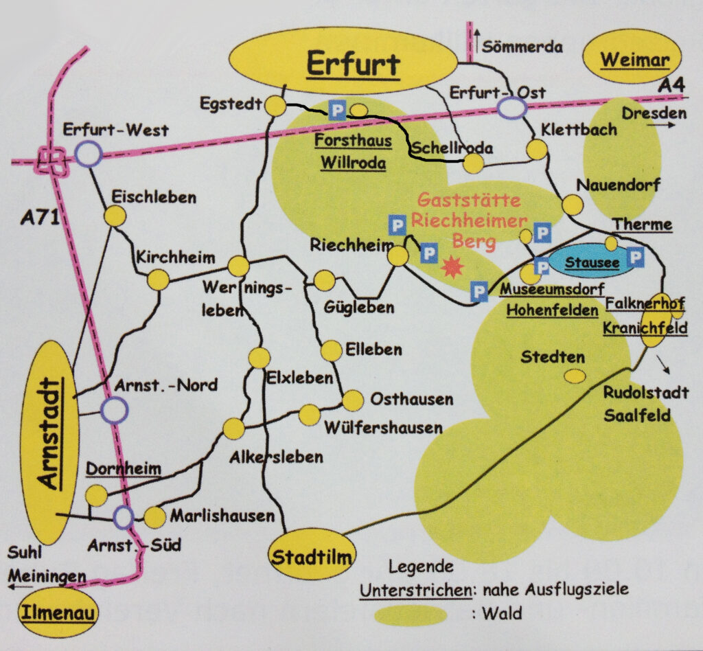 Skizze mit Lageplan und Anreisemöglichkeiten